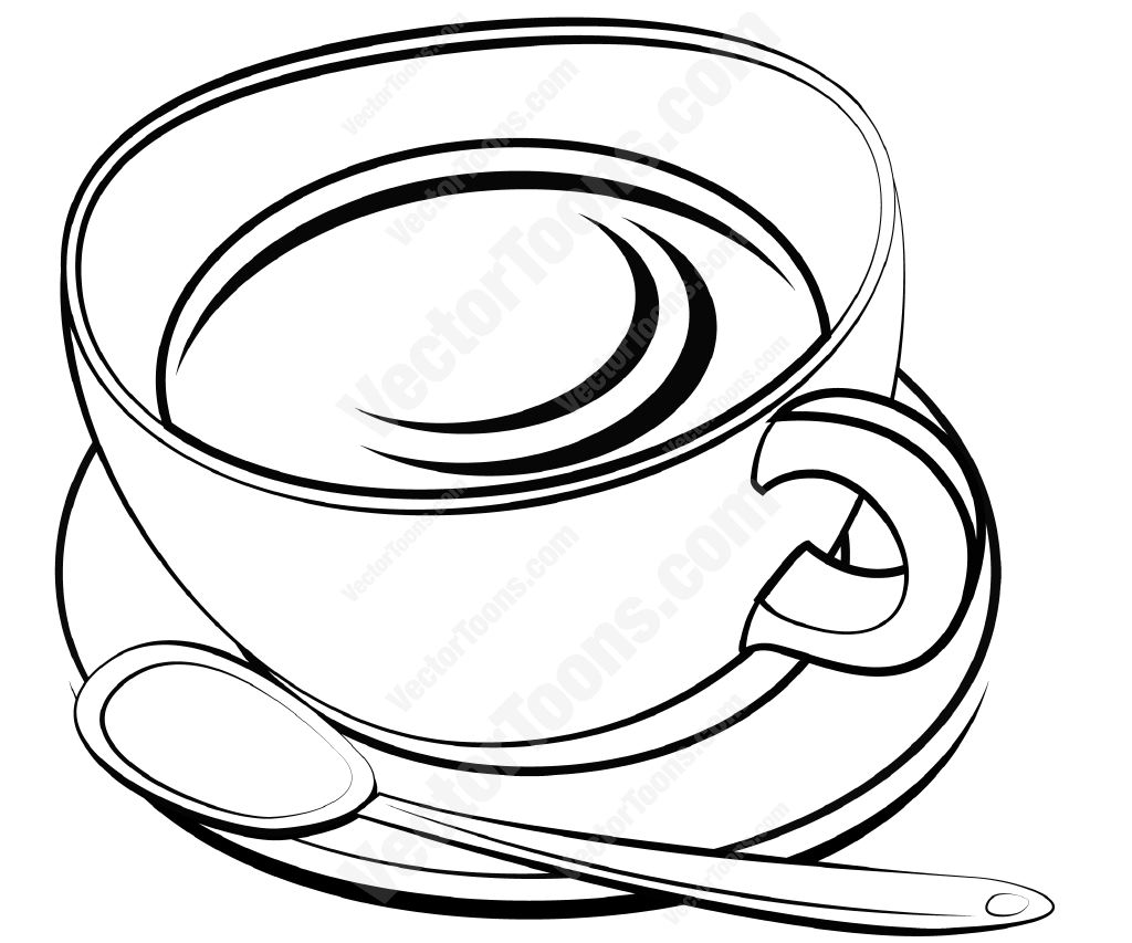 Tea Cup And Saucer With A Spoon Vector Graphics