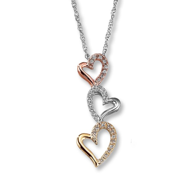 Multitone Three Heart Necklace   Indian Jewelry Roll over image to zoom in