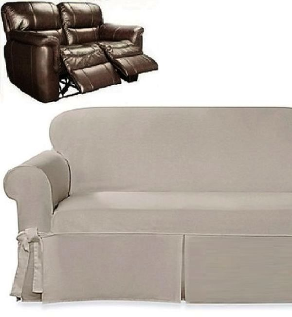 dual reclining loveseat slipcover farmhouse twill taupe sure fit cover