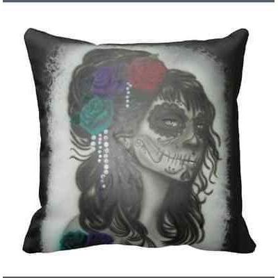day of the dead sugar skull pillow case dia de los muertos punk tattoo pinup