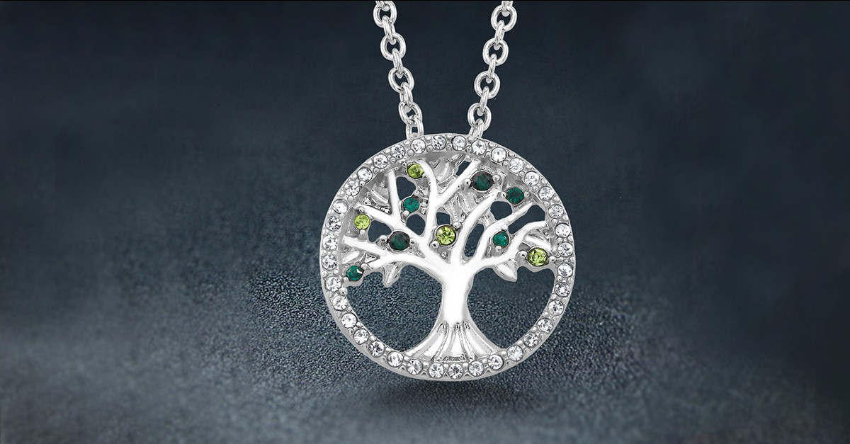 18kt White Gold Austrian Crystal Tree Of Life Necklace