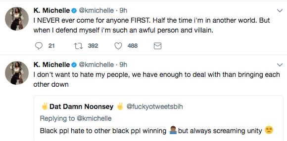 K. Michelle: Negative comments only come from Black women entertainment k michelle tweet 5