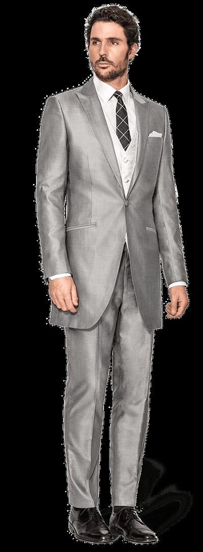 redingote sur mesure en tissu gris brillant