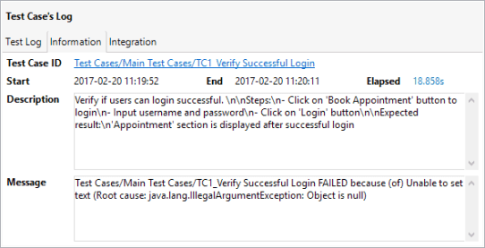 summary information of the test case