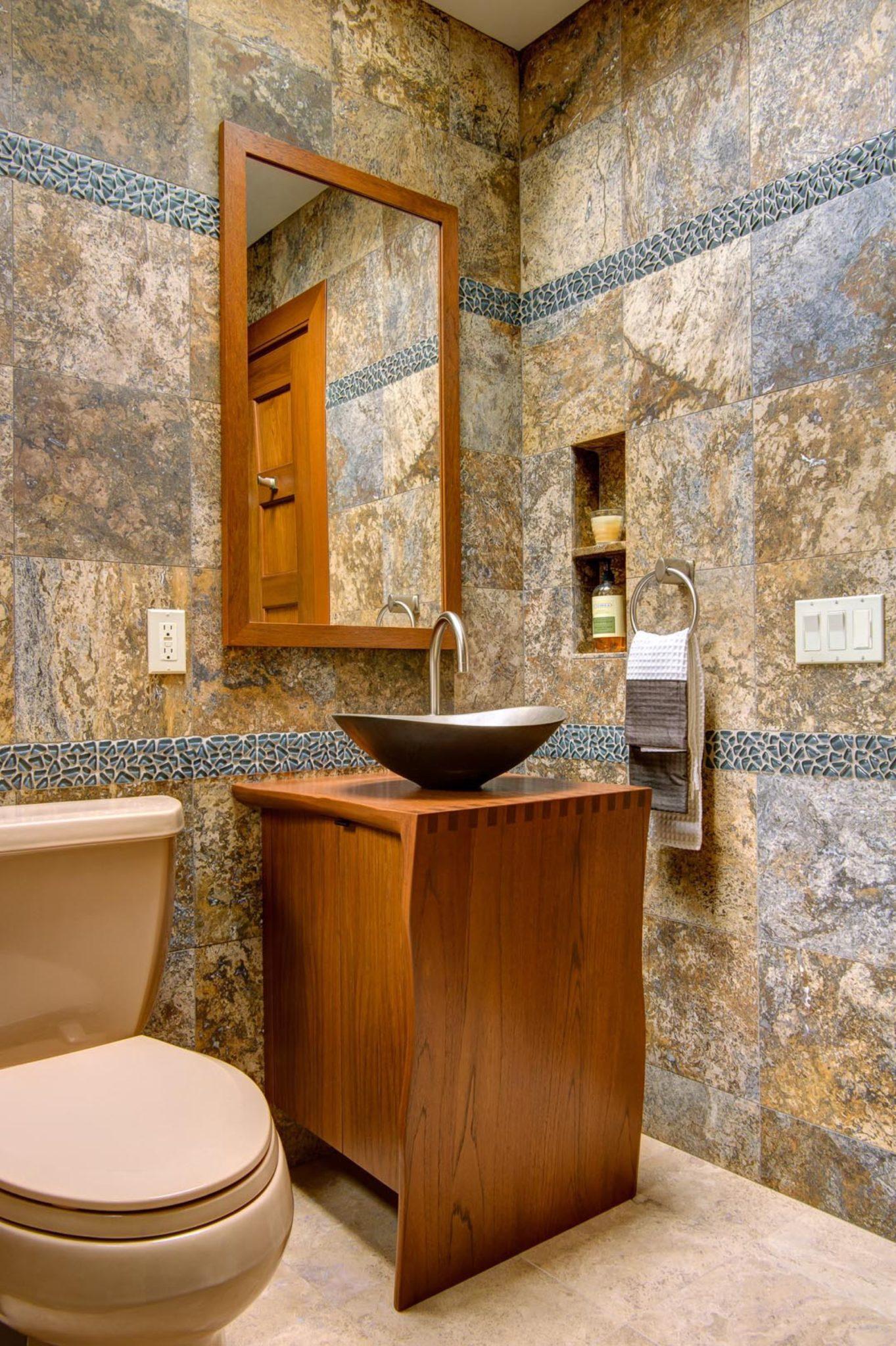 powder rooms with unique vessel sinks
