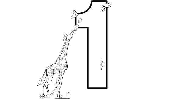 Number 1 Coloring Page. coloring page teach counting skill using ...