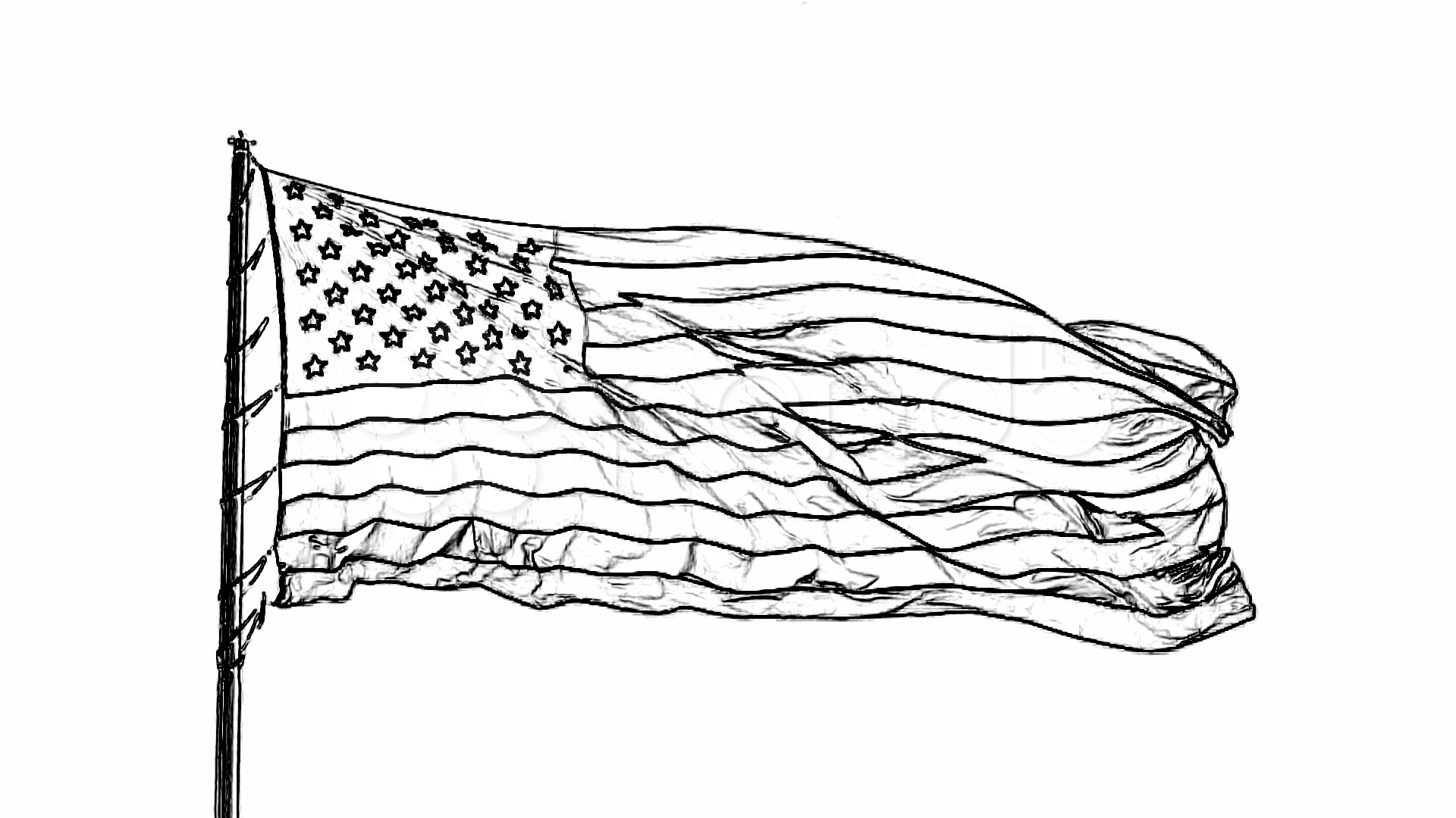 Charcoal Stencil American Flag Stock Video