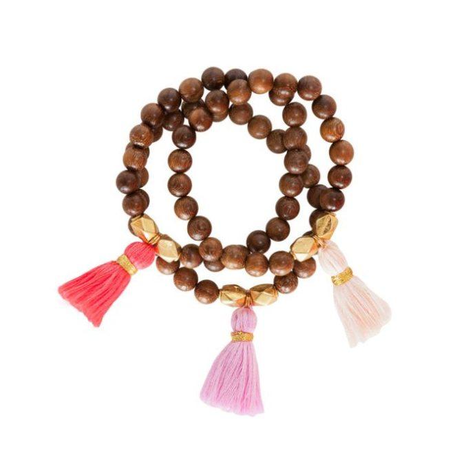 Sea Elise Wood and Fringe Bracelets