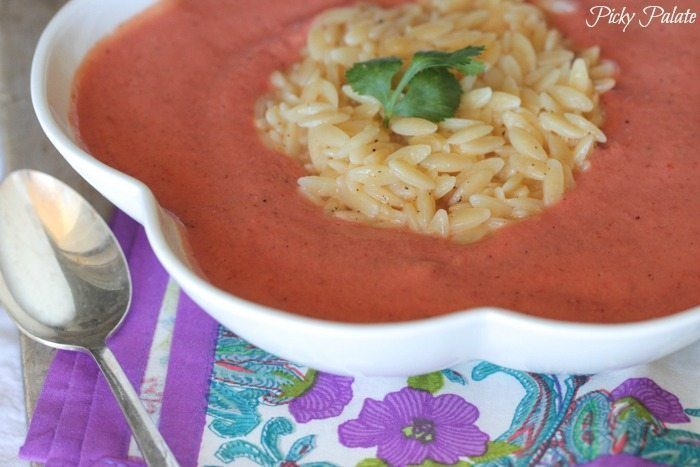 8 Winter Soups | Skinny Tomato Soup with Cheesy Orzo