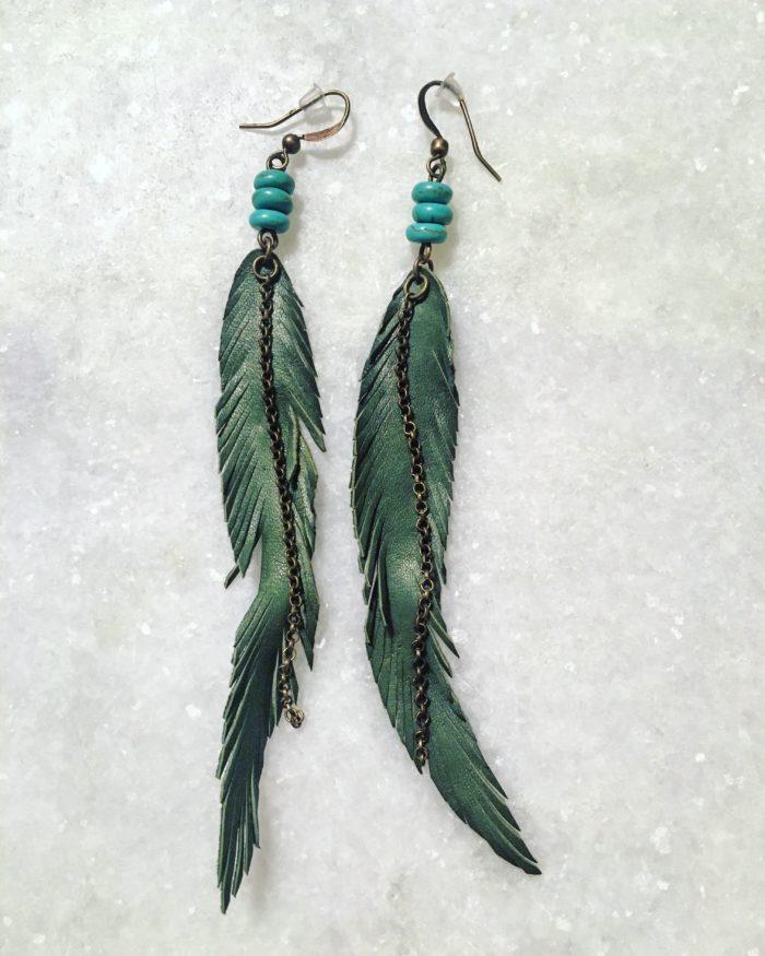 VelmaJewelry Leather Feather Earings