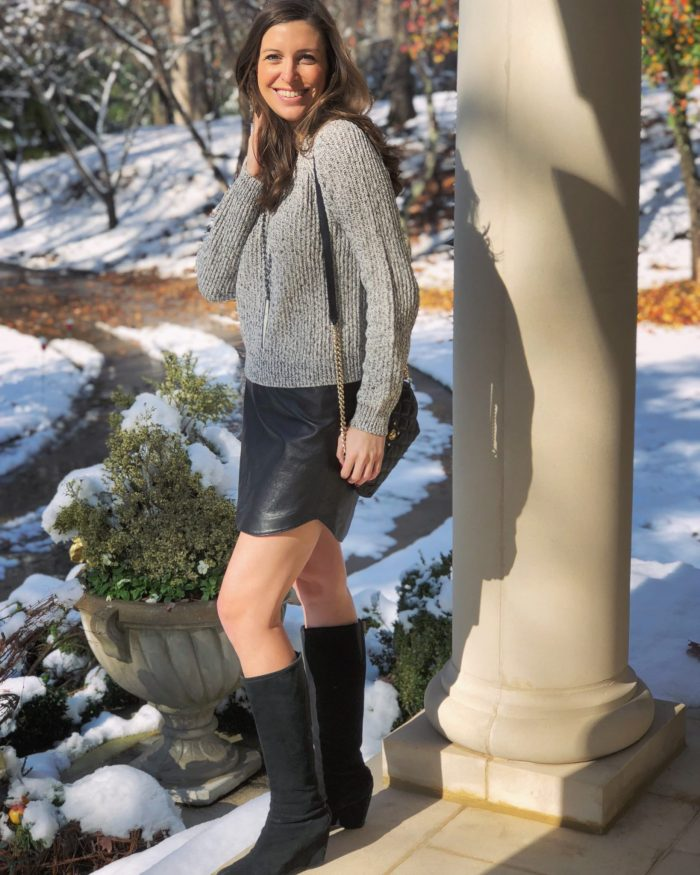 Leather Skirt with Gray Sweater and Black Wedge Boots - Blue Mountain Belle Channing Morris