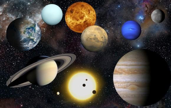 Impresión artística de los planetas de nuestro sistema solar, junto con el Sol (en la parte inferior).  Crédito: NASA