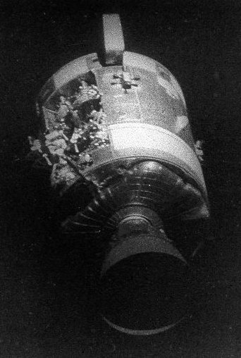 Photograph of exterior of the Apollo 13 spacecraft showing the damage caused by the oxygen tank explosion. If something like this happened to a Mars expedition - perhaps as a result of a micrometeorite - there would be many communication difficulties involved in trying to sort it out with communication delays with Earth of possibly over 40 minutes.