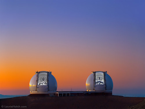 The sun sets on Mauna Kea as the twin Kecks prepare for observing. Credit: Laurie Hatch/ W. M. Keck Observatory