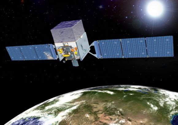 Concepción artística del telescopio espacial Fermi.  Crédito: NASA.