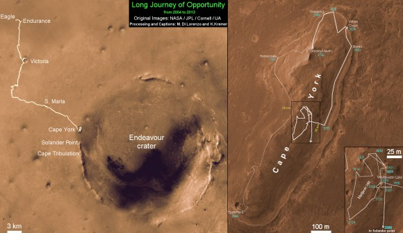 Traverse Mapa de rover Opportunity de la NASA 2004-2013 al Registro Configuración de Drive el 15 de mayo.  Este mapa muestra la ruta completa del rover ha conducido durante más de 9 años y más de 3309 soles, o días marcianos, desde el aterrizaje en el interior de cráter Eagle el 24 de Ene de 2004 hasta la ubicación actual hacia el sur desde Cabo York cresta en el borde occidental del cráter Endeavour .  El 15 de mayo 2013 Opportunity condujo 263 pies (80 metros) hacia el sur - el logro de una distancia total de desplazamiento en Marte de 22,22 millas (35,76 kilometros) - y se rompió el registro de conducir por cualquier vehículo NASA, que se celebró con anterioridad por el astronauta impulsada por Apollo 17 Lunar Rover en 1972.  Crédito: NASA / JPL / Cornell / ASU / Marco Di Lorenzo / Ken Kremer