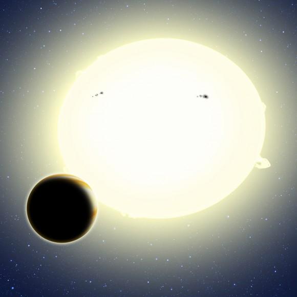 """""""Planeta de Einstein"""", formalmente conocido como Kepler-76b, es un """"Júpiter caliente"""" que orbita alrededor de su estrella cada 1,5 días.  Su diámetro es de aproximadamente 25 por ciento más grande que Júpiter y que pesa dos veces más.  Esta concepción artística muestra Kepler-76b orbita su estrella madre, que ha sido distorsionado por la marea en una forma leve de fútbol (exagerado aquí para el efecto).  El planeta fue detectado mediante el algoritmo de cerveza, que buscó cambios de brillo de la estrella cuando el planeta orbita debido a la radiante relativista, variaciones elipsoidales y luz reflejada desde el planeta.  Crédito: David A. Aguilar (CfA)"""
