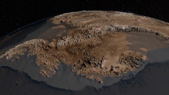 Bedmap2 datos de roca en la Antártida.  Elevación Verical ha sido exagerada por 17x.  (NASA / GSFC)
