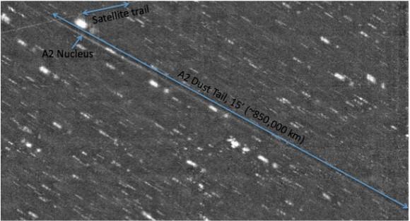 La cola de polvo de asteroide P/2010 A2 (LINEAR) ha crecido a más de 1 millón kilómetros de largo.  Imagen tomada con el nuevo Grado Imager (ODI), un amplio campo de la cámara óptica del telescopio WIYN en Kitt Peak.