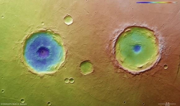 Arima gemelos topografía. Esta vista aérea con código de color se basa en la Mars Express de alta resolución estéreo Modelo de cámara ESA digitales del terreno de la región Thaumasia Planum en Marte aproximadamente a 17 ° S / 296 ° E. La imagen fue tomada durante la órbita de 11467, el 4 de enero de 2013. La codificación de color revela la profundidad relativa de los cráteres, en particular, las profundidades de sus fosas centrales, con el cráter de la izquierda penetrar más profundo que el de la derecha (Arima cráter). Copyright: ESA / DLR / FU-Berlin-G.Neukum
