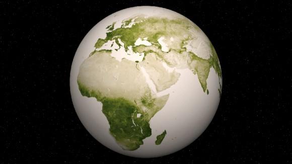Hemisferio del este-Vegetación en nuestro planeta.  Crédito: NASA / NOAA