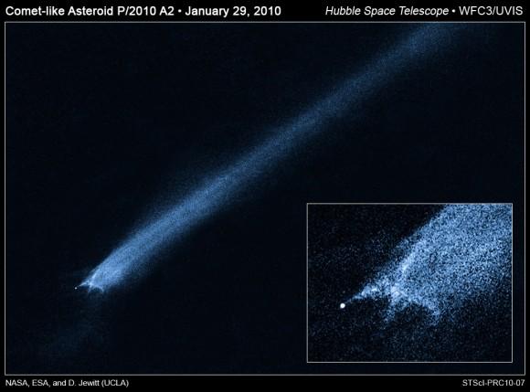 Hubble Vistas del cometa-como el asteroide P/2010 A2.  Crédito: NASA, ESA, y D. Jewitt (UCLA)