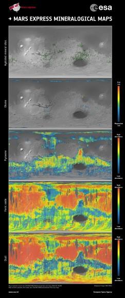 Marte mapas mineralogía Express. Esta serie de cinco mapas muestra una cobertura casi mundial de los minerales esenciales que ayudan a trazar la historia de Marte. El mapa de minerales hidratados indica los sitios individuales en los que se detectaron una serie de minerales que se forman sólo en presencia de agua. Los mapas de olivino y piroxeno cuentan la historia del vulcanismo y la evolución del interior del planeta. Óxidos férricos, una fase mineral de hierro, están presentes en todo el planeta: en la corteza a granel, las salidas de lava y el polvo oxidado por reacciones químicas con la atmósfera marciana, haciendo que la superficie de 'rust' lentamente durante miles de millones de años, dando a Marte su color rojo característico. Copyright: ESA / CNES / CNRS / IAS / Université Paris-Sud, Orsay, NASA / JPL / JHUAPL, imágenes de fondo: NASA MOLA
