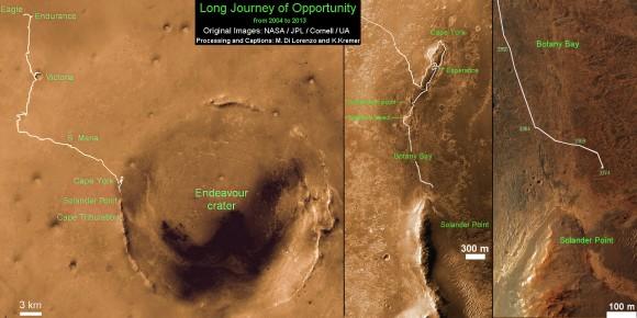 Traverse Mapa de rover Opportunity de la NASA desde 2004 hasta 2013.  Este mapa muestra la ruta completa del rover ha conducido durante más de 9 años y más de 3374 soles, o días marcianos, desde el aterrizaje en el interior de cráter Eagle el 24 de enero de 2004 y el actual ubicación cerca de las colinas de Solander Point en el borde occidental del cráter Endeavour.  Crédito: NASA / JPL / Cornell / ASU / Marco Di Lorenzo / Ken Kremer