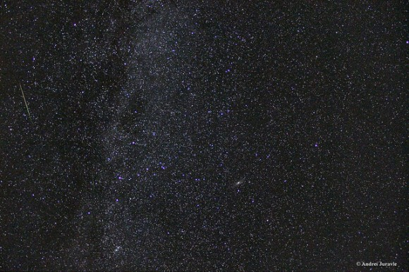 ¿Puedes encontrar un total de 6 meteoros en esta imagen?  (Dos son muy débiles).  Esta es una composición de 3 fotos apiladas, cada imagen tomada con una Canon 550D @ 30 18mm Exposición en ISO 3200.  Crédito y copyright: Andrei Juravle.