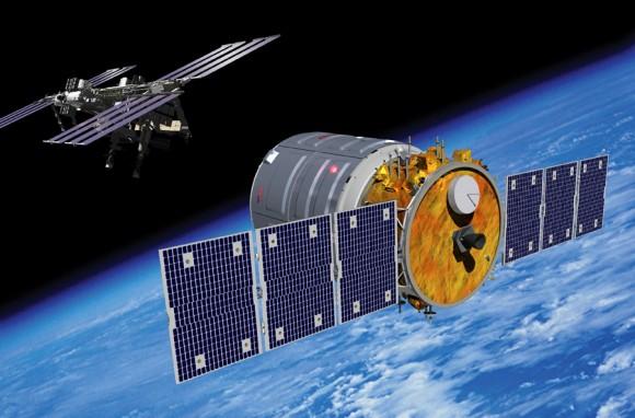 Representación del artista de la nave espacial Cygnus acercarse a la Estación Espacial Internacional