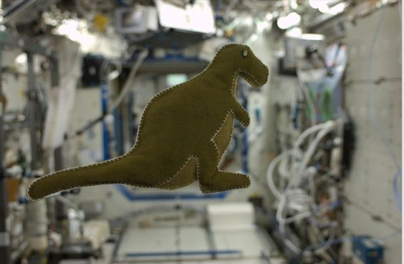 While on the ISS, astronaut Karen Nyberg made this dinosaur for her son, created from reclaimed velcro-like fabric that lines the Russian food containers. Credit: Karen Nyberg via Pinterest.