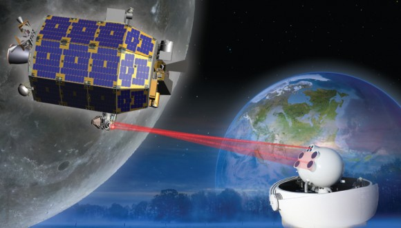 El satélite LADEE en órbita lunar.  La sonda de la ciencia revolucionaria modular está equipada con una demostración Comunicación Láser Lunar (LLCD) que intenta mostrar de comunicación por láser de dos vías fuera de la Tierra es posible, ampliar la posibilidad de transmitir grandes cantidades de datos.  Esta nueva capacidad podría algún día permitir a las transmisiones de vídeo de alta definición en 3-D en el espacio profundo para convertirse en rutina.  Crédito: NASA