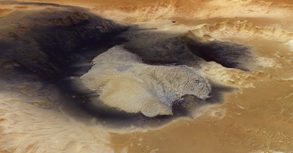 The dark material in Becquerel crater  on Mars might have come from a volcanic eruption. Credit: ESA/DLR/FU Berlin (G. Neukum)