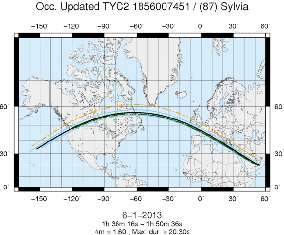 The path of the occultation of 87 Sylvia and an eleventh-magnitude star on Jan. 6, 2013. On the map, Sylvia is represented by a black line, with its path limits marked by blue lines. Its moons -- Romulus and Remus -- are represented by green and orange lines. Credit: IMCCE