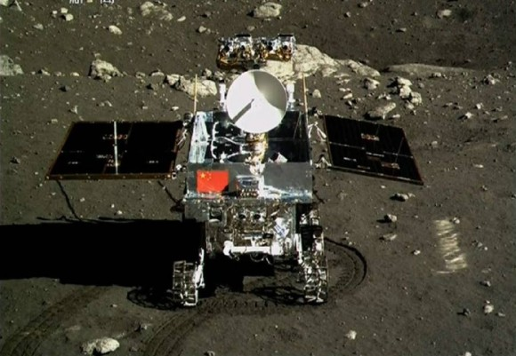 Yutu rover emblazoned with Chinese Flag as seen by the Chang'e 3 lander on the moon on Dec. 15, 2013.  Credit: China Space