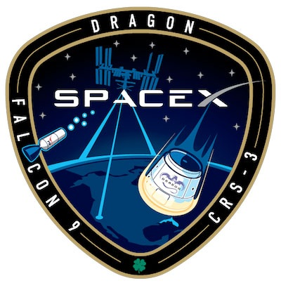 SpaceX Falcon 9/Dragon  CRS-3 mission patch. Credit: SpaceX