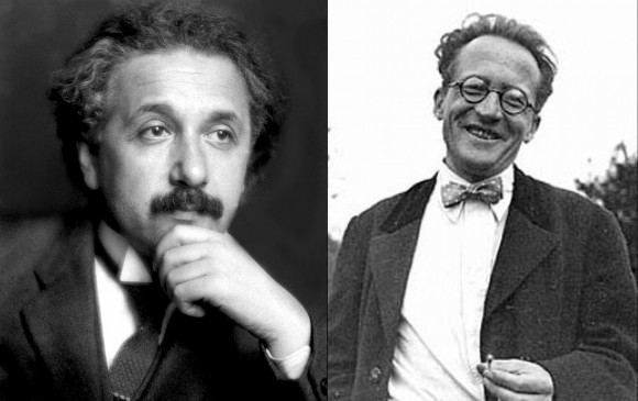 Two of the perpetrators of the century long problem of unifying General Relativity Theory and Quantum Physics, A. Einstein, E. Schroedinger.