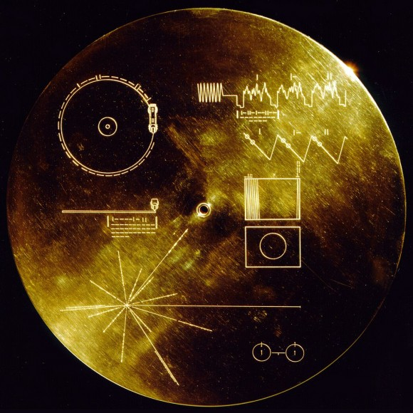 The cover of the phonograph record on the Voyager 1 and 2 spacecraft, which contains an interstellar message encoded on a phonographic record.  The encoded instructions attempt to explain to extraterrestrials how to play the record.  Credit: NASA JPL