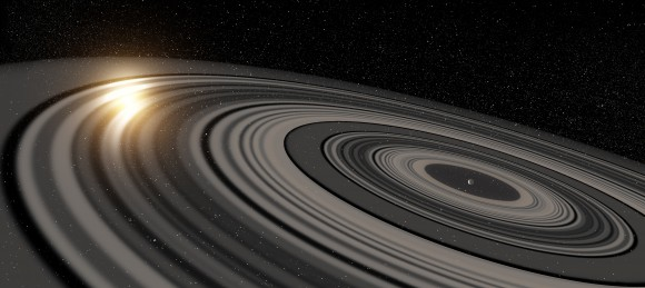 Illustration by artist Ron Miller of the gigantic ring system around J1407b.