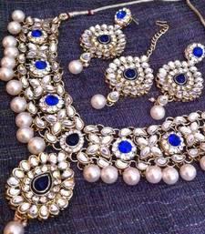 Buy Kundan Work in Flower & Leaves with Blue Stones Pearls Indian Necklace Set d12b necklace-set online
