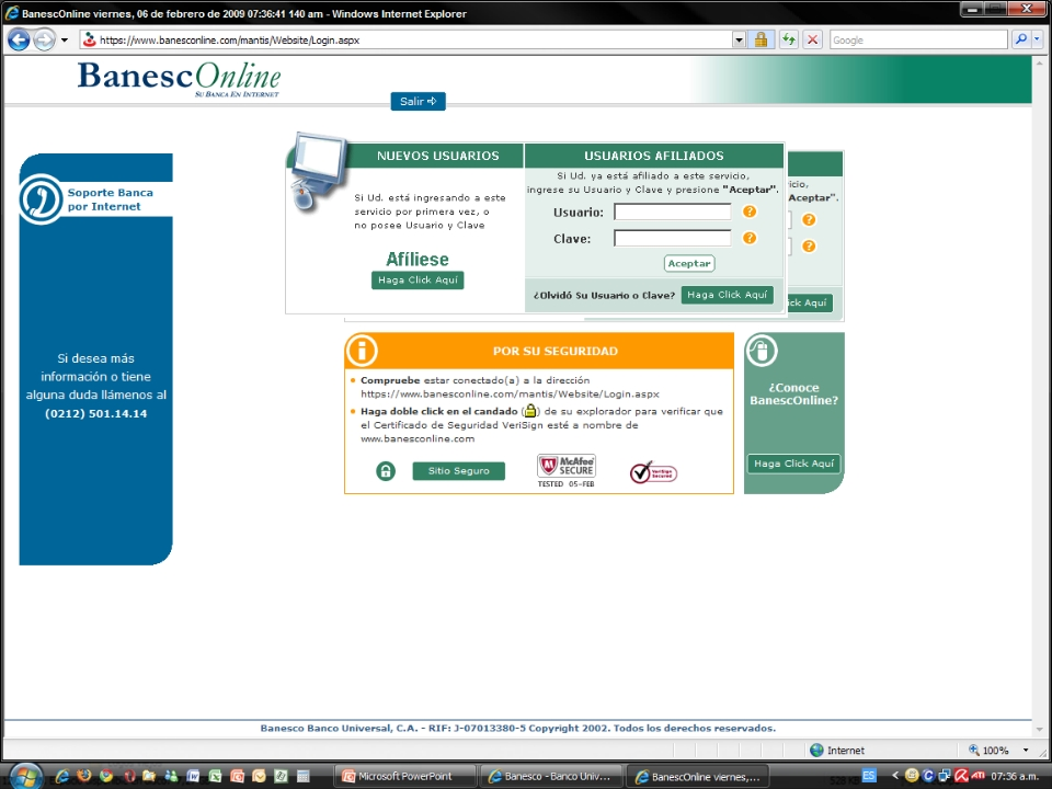Alerta - Phishing (robo de claves) en Banesco (4/6)