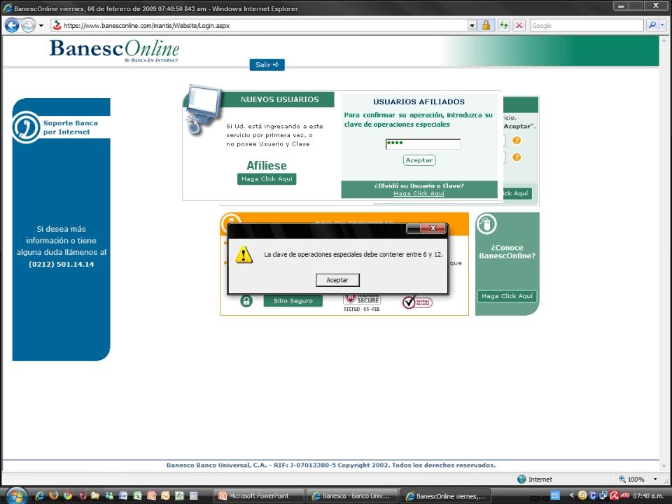 Alerta - Phishing (robo de claves) en Banesco (6/6)