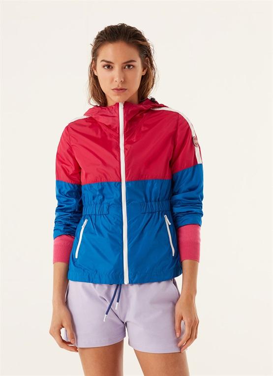 giacca colorblock in taffetà