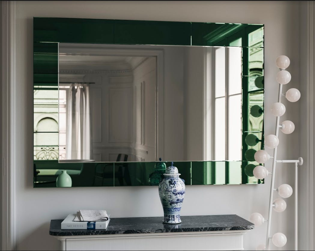 green mirror, art deco green mirror