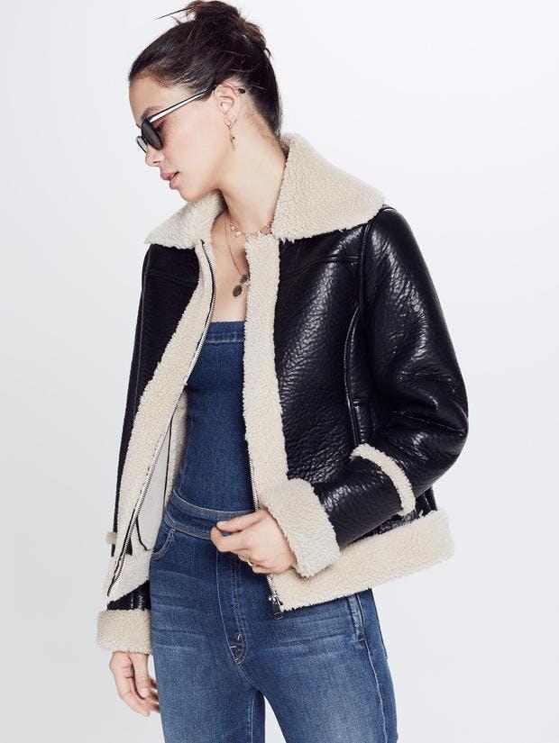mother jeans, mother denim, moto jacket, faux leather, faux sherling, sherpa, lined jacket