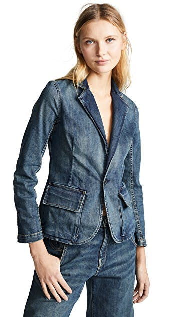 nili lotan, denim jacket, jean jacket, denim blazer, smart denim, dirty denim
