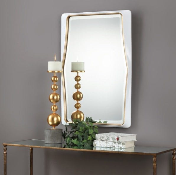 Midcentury Modern Gloss White Wall Mirror