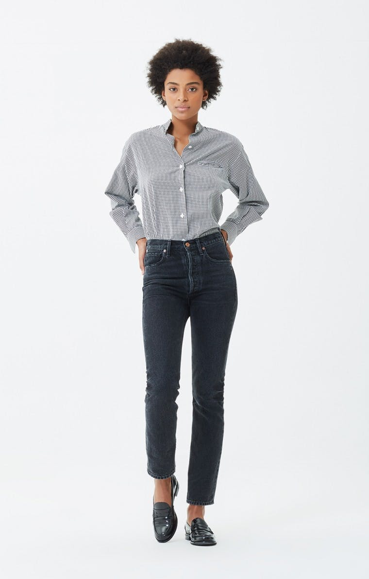 citizens of humanity, jeans, denim, high rise jeans, high waisted denim, cropped jeans, slim jeans, washed black denim. cropped jeans, straight leg jeans