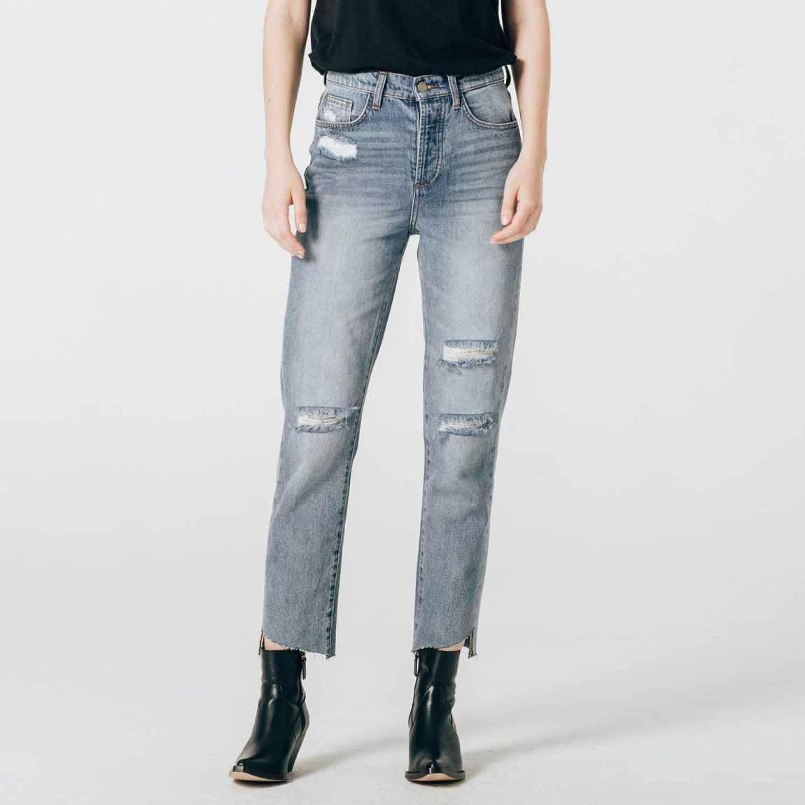 dstld, dstld jeans, boyfriend jeans, vintage jeans, frayed hem, slouchy jeans, straight jeans, high rise jeans, distressed jeans