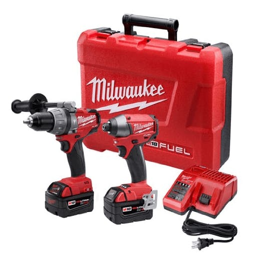 Milwaukee 2797-22 M18 Fuel Lithium 2-Tool Combo Kit includes Hammer Drill and Hex Impact Driver
